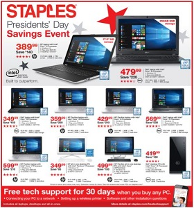 Staples Weekly Ad February 18 - February 24, 2018. Presidents' Day Savings Event!