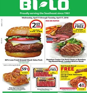 BI-LO Weekly Flyer April 11 - April 17, 2018. Jimmy Dean Bacon on Sale!