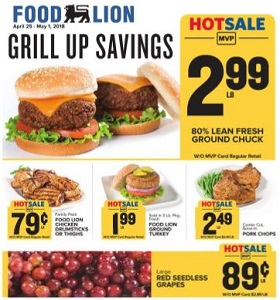Food Lion Weekly Circular april 25 - May 1, 2018. Grill Up Savings!