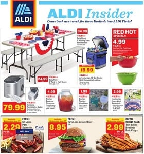 Aldi Weekly Circular June 27 - July 3, 2018. Easy Home 6' Fold-In-Half Bench on Sale!