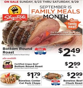 ShopRite Weekly Ad September 23 - September 29, 2018. Family Meals Month!