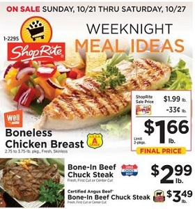 ShopRite Weekly Ad October 21 - October 27, 2018. Weeknight Meal Ideas!