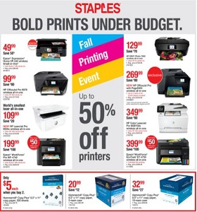Staples Weekly Flyer October 14 - October 20, 2018. Fall Printing Event!