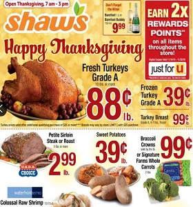 Shaw's Weekly Flyer November 16 - November 22, 2018. Happy Thanksgiving!