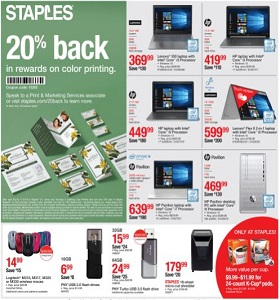 Staples Weekly Ad November 4 - November 10, 2018. 20% Back In Rewards On Color Printing!