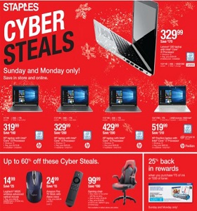 Staples Weekly Ad November 25 - December 1, 2018. Cyber Steals!