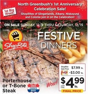 ShopRite Weekly Flyer December 9 - December 15, 2018. Festive Dinners!