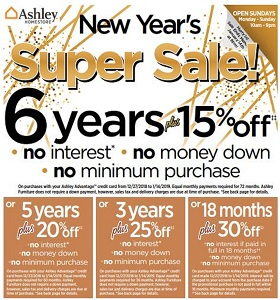 Ashley Furniture Weekly Flyer January 8 - January 14, 2019. New Year's Super Sale!