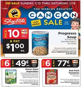 ShopRite Weekly Flyer January 13 - January 19, 2019. The World's Greatest Can Can Sale!