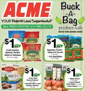 Acme Weekly Circular March 15 - March 21, 2019. Buck-A-Bag Produce Sale!