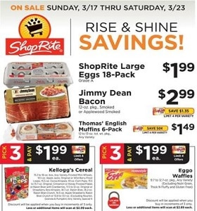 ShopRite Weekly Ad March 17 - March 23, 2019. Rise & Shine Savings!