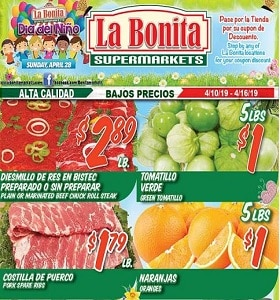 La Bonita Supermarkets Weekly Ad April 10 - April 16, 2019. Beef Chuck Roll Steak!