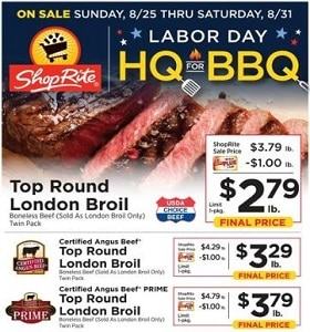 ShopRite Weekly Ad August 25 - August 31, 2019. Labor Day HQ For BBQ!