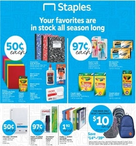 Staples Weekly Ad August 25 - August 31, 2019. Styles For Every Subject!