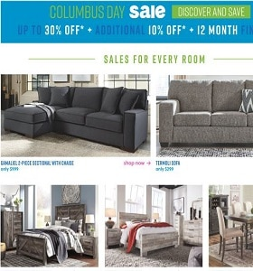 Ashley Furniture Weekly Deals October 15 - October 21, 2019. Columbus Day Sale!