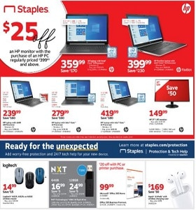 Staples Weekly Circular October 3 - October 9, 2019. HP Monitors Sale!