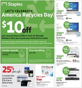 Staples Weekly Flyer November 10 - November 16, 2019. America's Recycle Day