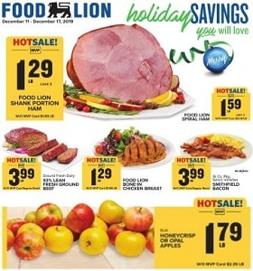Food Lion Weekly Ad December 11 - December 17, 2019. Holiday Savings!