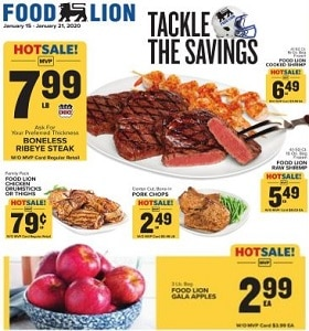 Food Lion Weekly Flyer January 15 - January 21, 2020. Tackle The Savings!