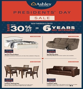 Ashley Furniture Weekly Ad February 4 - February 28, 2020. Presidents' Day Sale!