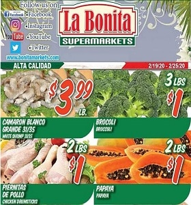 La Bonita Supermarkets Weekly Ad February 19 - February 25, 2020. Papaya