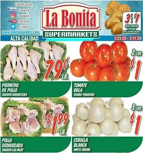 La Bonita Supermarkets Weekly Ad March 25 - March 31, 2020. Chicken Drumsticks