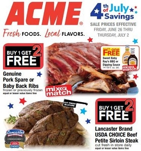 Acme Weekly Ad June 26 - July 2, 2020. 4th Of July Savings!