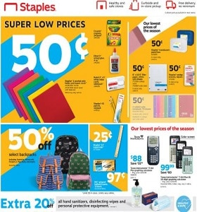 Staples Weekly Circular August 9 - August 15, 2020. School Supplies on Sale!