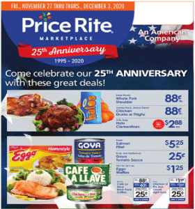 Price Rite Weekly Ad November 27 - December 3, 2020. Great Deals!