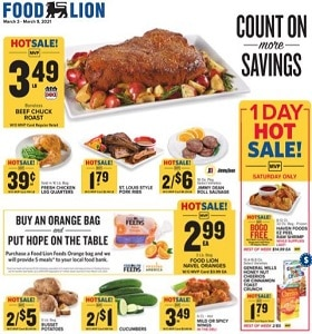 Food Lion Weekly Ad March 3 - March 9, 2021. Count On More Savings!