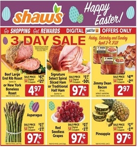 Shaw's Weekly Circular April 2 - April 8, 2021. Happy Easter!